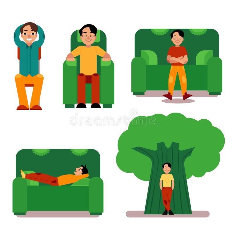Young man relaxing set - male character sitting or lying on furniture and standing near green tree. Boy restores his strength during break or after work stock illustration