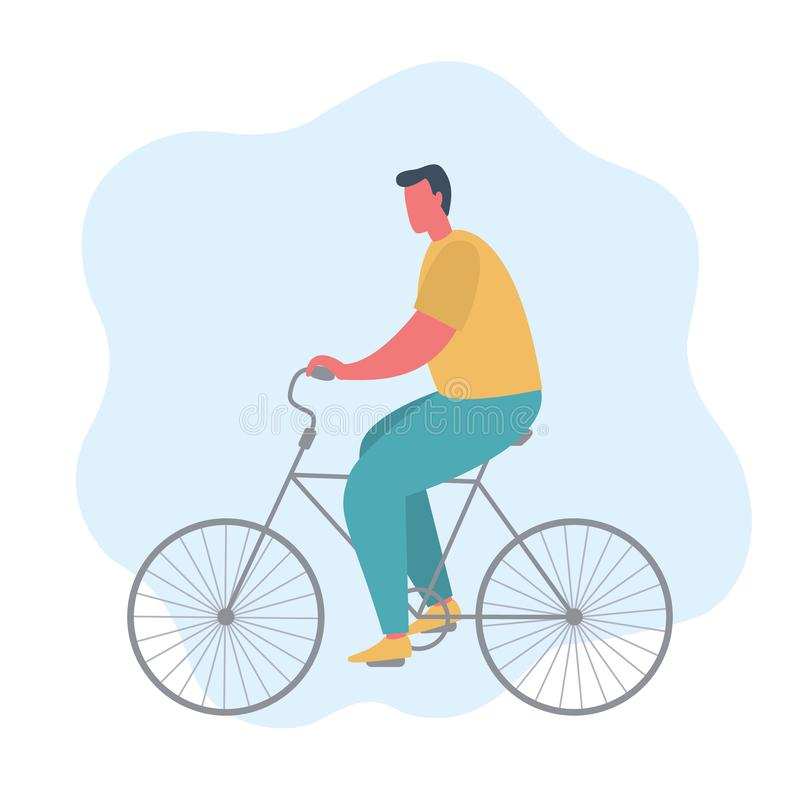 Young man is riding a bike. The concept of sports lifestyle vector illustration