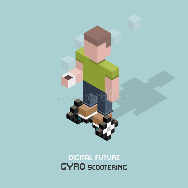 Young man riding electric gyroscooter. Cubes composition isometric illustration of modern device gyro scooter. Guy with cup vector illustration