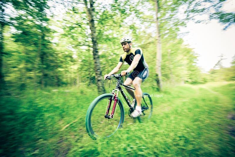 Young Man Riding His Mountain Bike royalty free stock photo