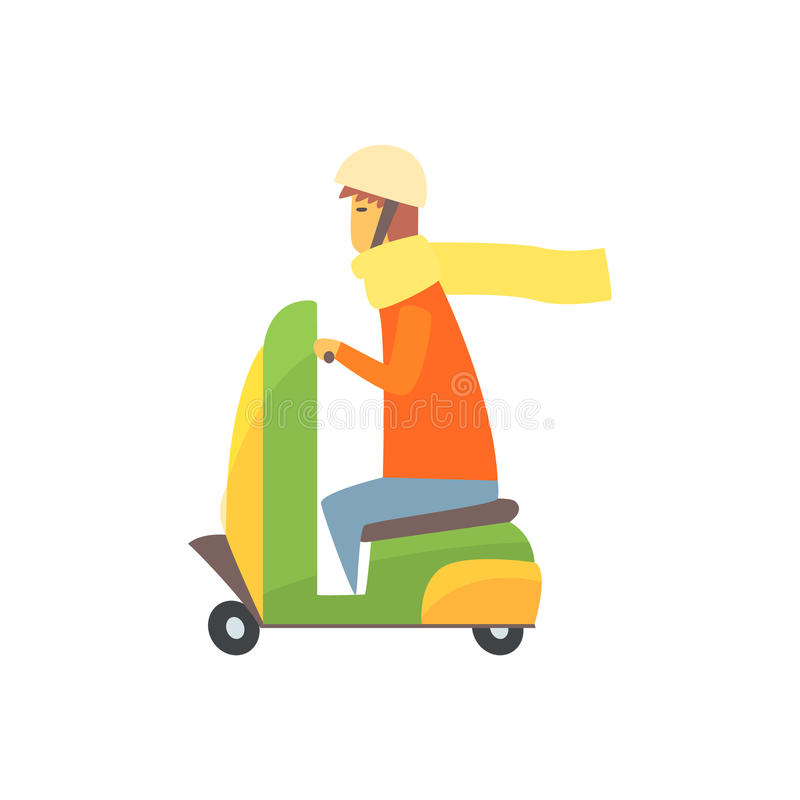 Young man riding scooter cartoon vector Illustration royalty free illustration