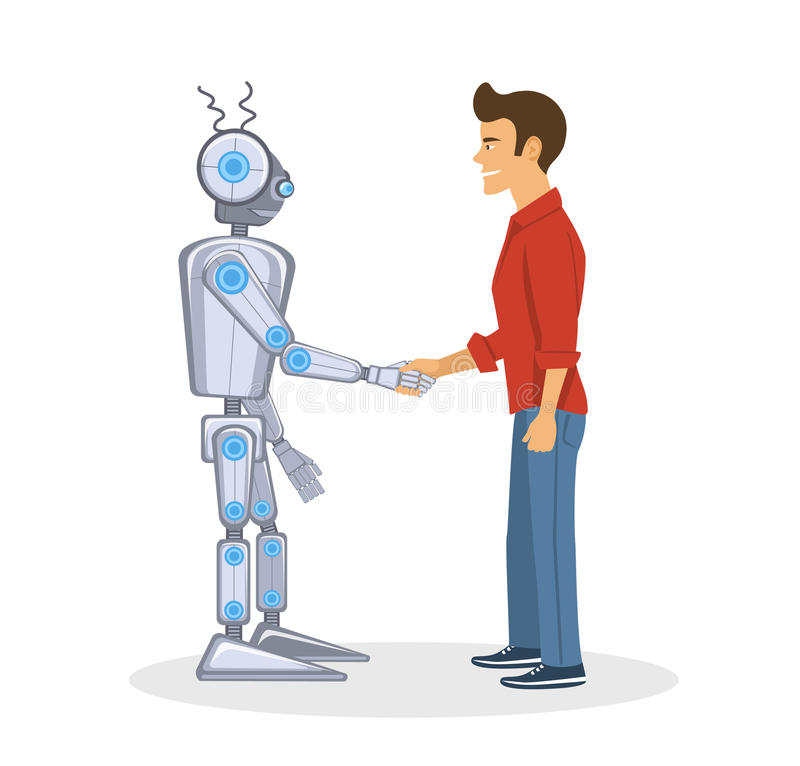 Young man and robot shaking hands. Human and artificial intelligent partnership. Concept vector illustration