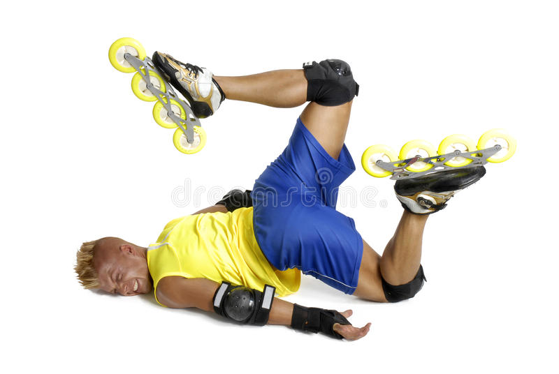 Young man on rollerblade royalty free stock image
