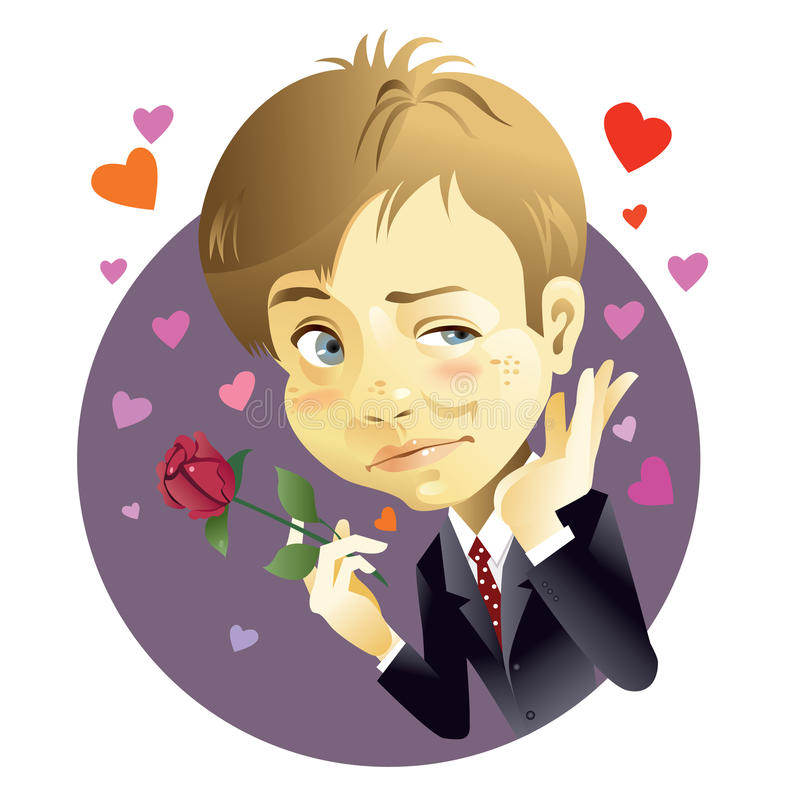 Download Young man and rose stock vector. Image of shape, love - 10954324