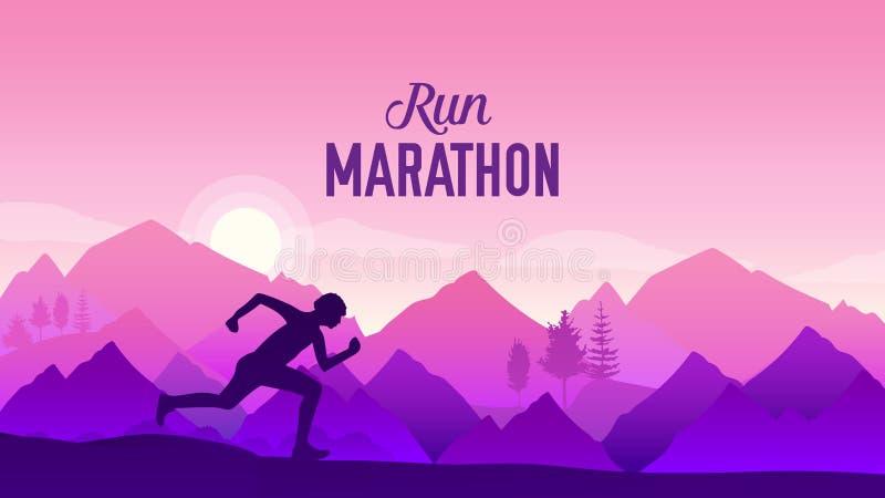 Young man runner running on city bridge road. Triathlete running in triathlon suit training for ironman race. Spor vector illustration