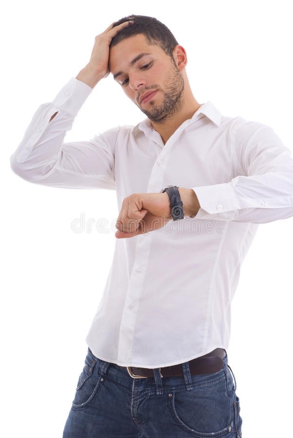 Young man running late isolated stock image