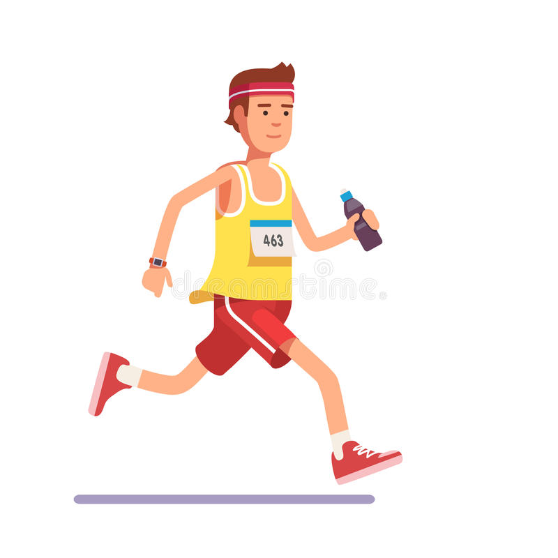 Young man running a marathon vector illustration