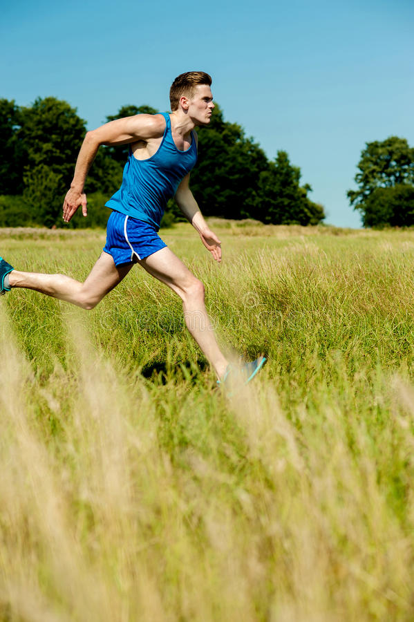 Download Young Man Running Through Meadows Stock Image - Image of handsome, fitness: 33859773