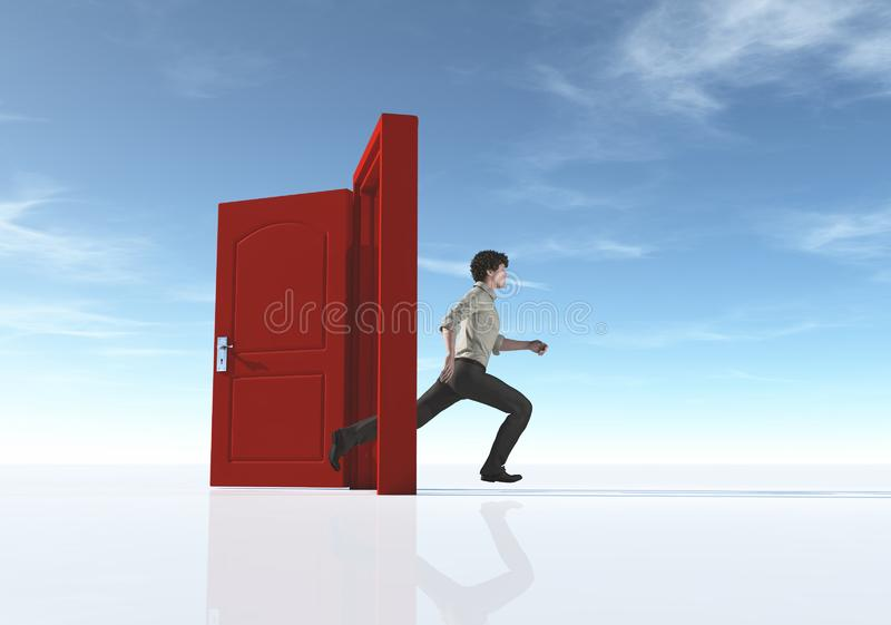 Young man running to an opened door stock illustration