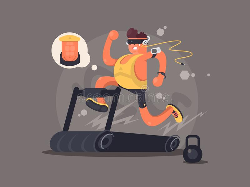 Young man running on treadmill. Dreaming about the beautiful press. Vector illustration royalty free illustration