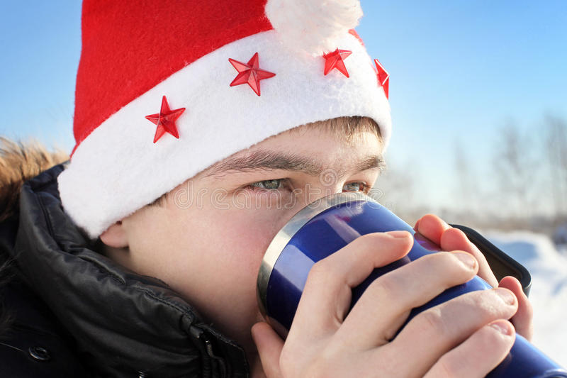 Download Young man in santa hat stock photo. Image of handsome - 27070990