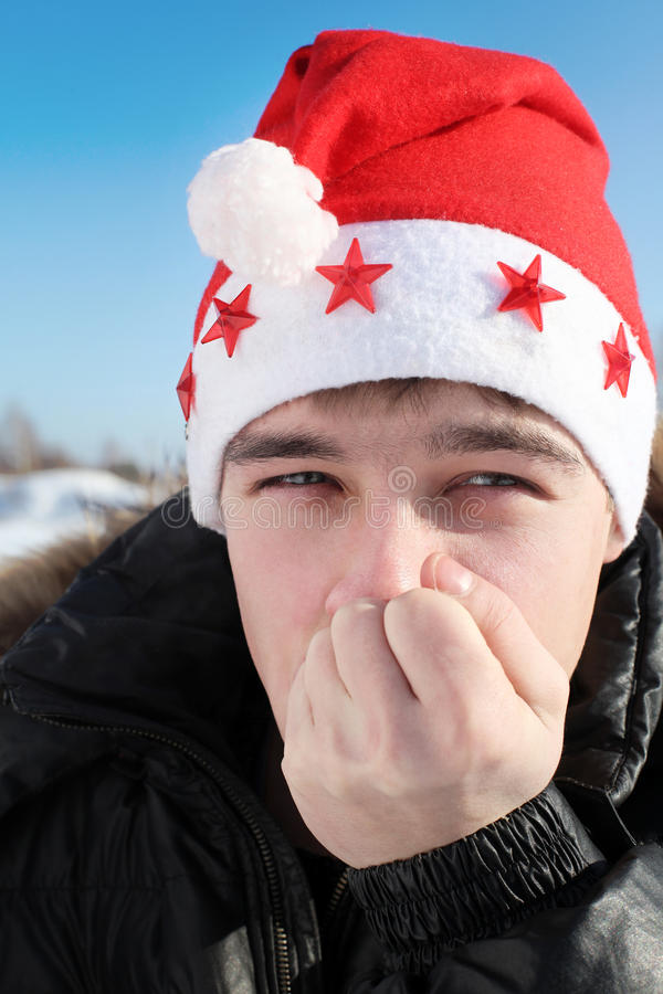Download Young man in santa hat stock image. Image of collar, keep - 27071015