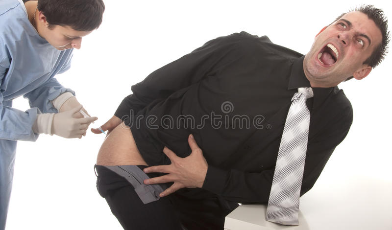 Download Young Man Scared Of Injections Stock Photo - Image of adult, first: 13750726