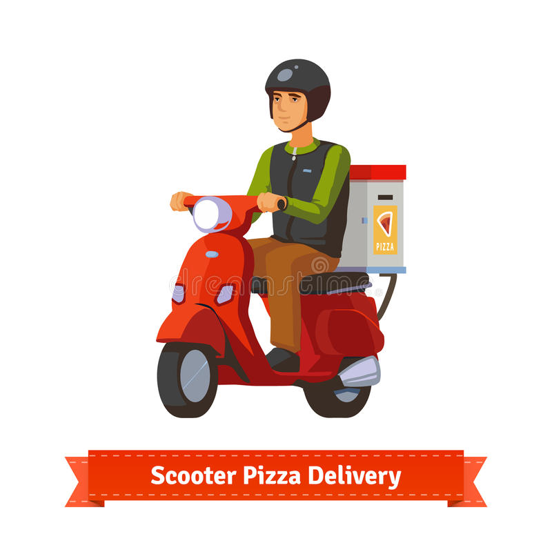 Young man on a scooter delivering pizza. Flat style illustration. EPS 10 vector royalty free illustration