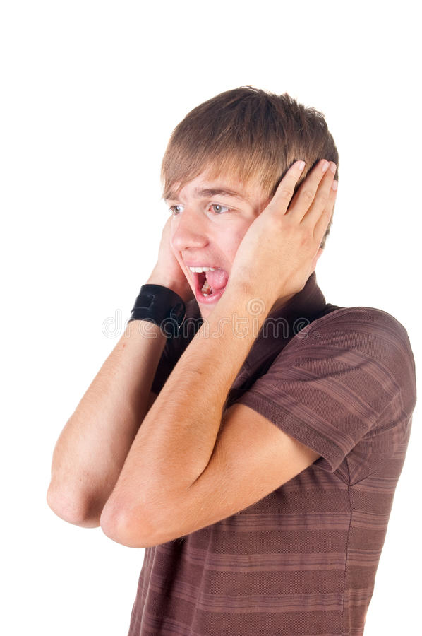 Download Young man screaming. stock photo. Image of open, pain - 11635398