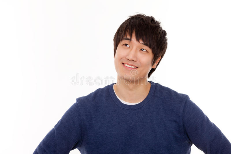 Download Young man seeing up space. stock photo. Image of happiness - 25100800