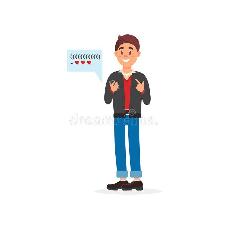 Young man sending message to his girlfriend using dating web site and app on smartphone vector Illustration on a white. Young man sending message to his stock illustration