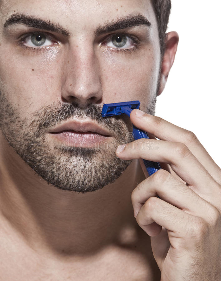 Download Young man shaving stock photo. Image of foam, ready, male - 10856344