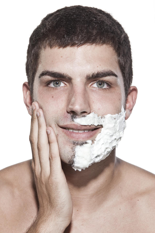 Download Young man shaving stock photo. Image of indoors, routine - 10870860