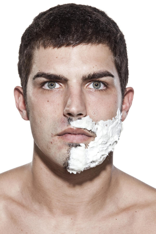 Download Young man shaving stock photo. Image of shoulders, adult - 10870900