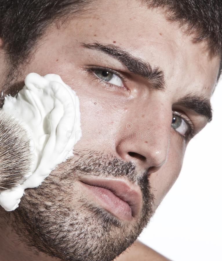 Download Young man shaving stock photo. Image of male, foam, ethnicity - 10871202