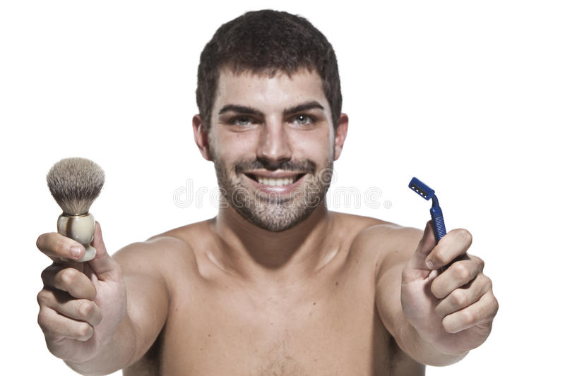 Download Young man shaving stock image. Image of morning, routine - 10871411