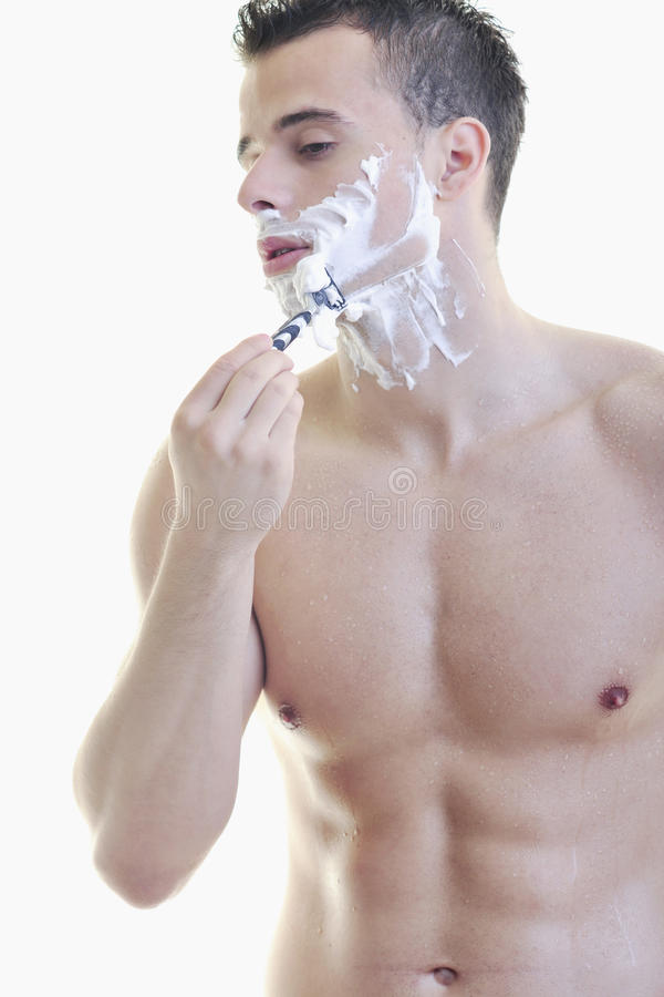 Download Young man shaving stock image. Image of male, face, care - 14383995