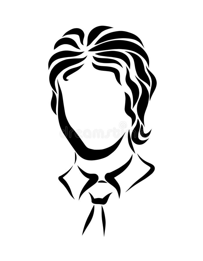 Young man in shirt and tie, head.  stock illustration
