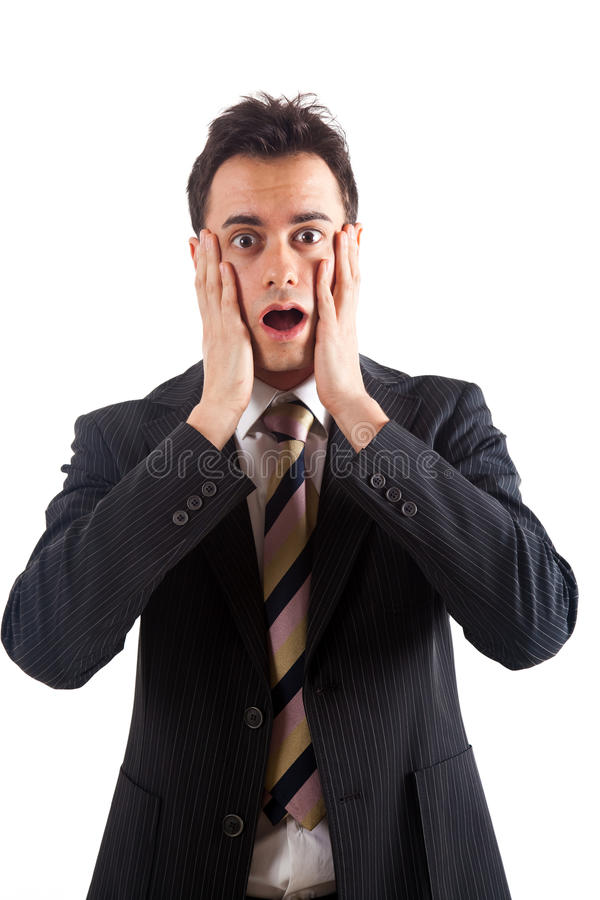 Young man shocked stock image