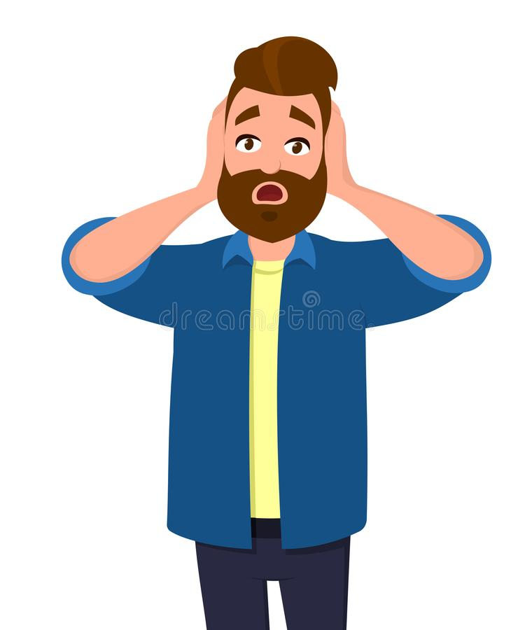 Young man shocked facial expression. Oh my god. Man holding hands on ears or head. Man closed or covering his ears. Human emotion and body language concept stock illustration