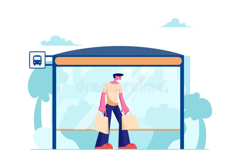 Young Man with Shopping Bags Stand on Bus Station with Bench Waiting Public City Transport. Transportation Service, Citizen. On Bus Stop, Traffic, Dweller stock illustration