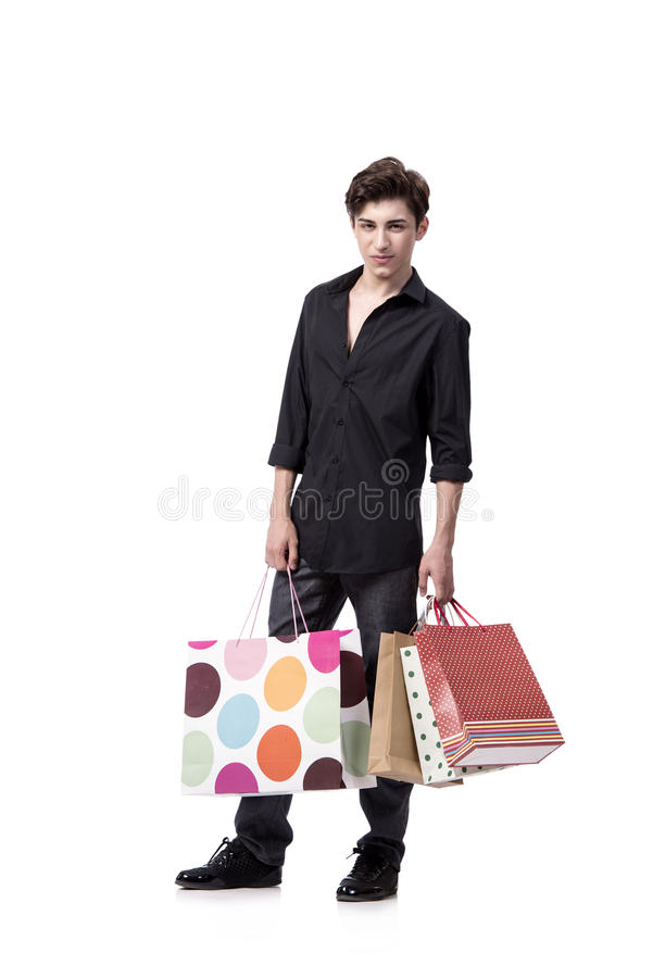 The young man in shopping concept isolated on white royalty free stock image