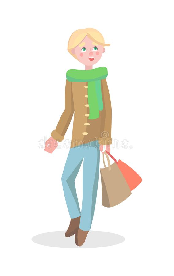 Young Man Shopping Flat Cartoon Vector Icon royalty free illustration