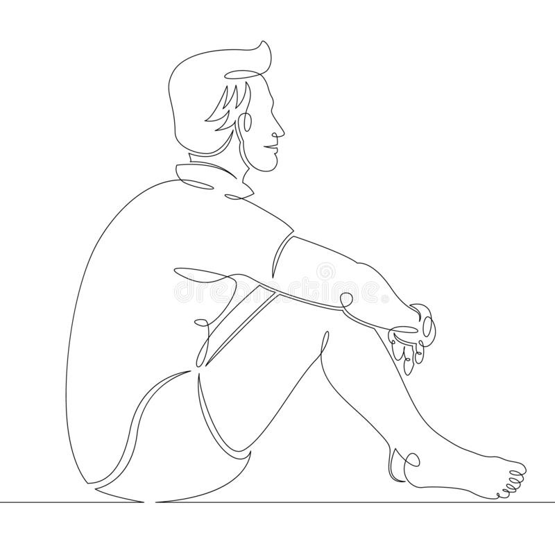 Young man in shorts sits on the sand of the beach vector illustration
