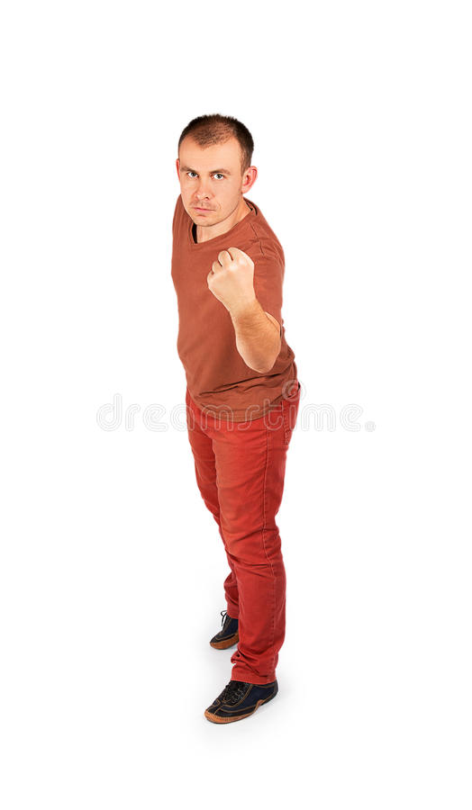 Young man showing his fist royalty free stock image