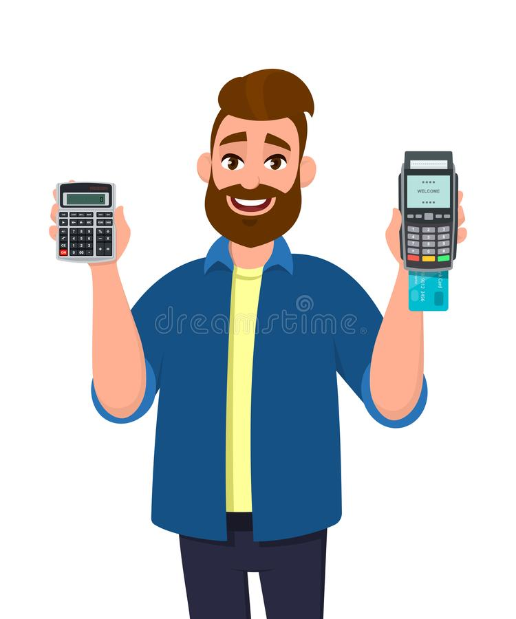 Young man showing or holding digital calculator device and POS terminal, credit, debit, ATM card swiping payment machine in hand. stock illustration
