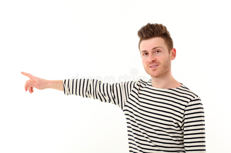 Download Young man showing a point stock photo. Image of people - 24898432