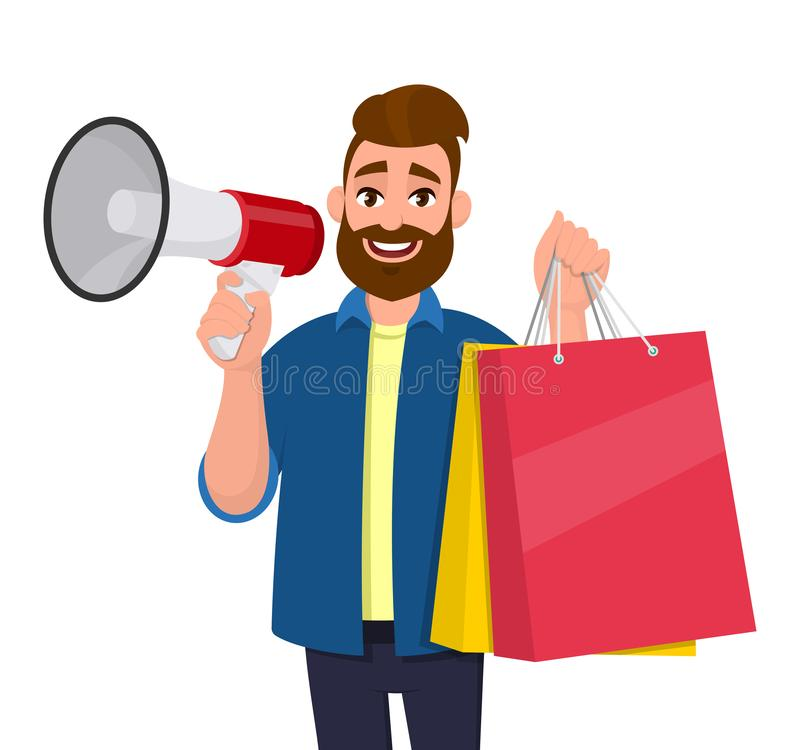 Young man showing shopping bags. Person holding a megaphone or loudspeaker in hand. Modern lifestyle, digital technology. stock illustration