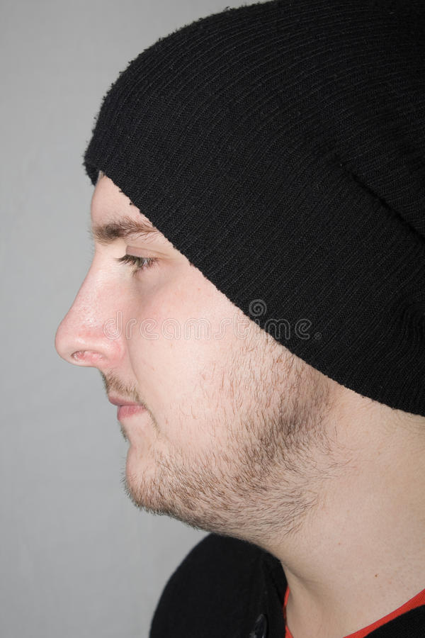 Young man side view stock photo