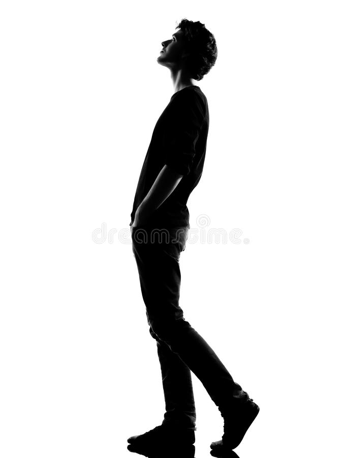 Free Young Man Silhouette Walking Looking Up Stock Photography - 24260112