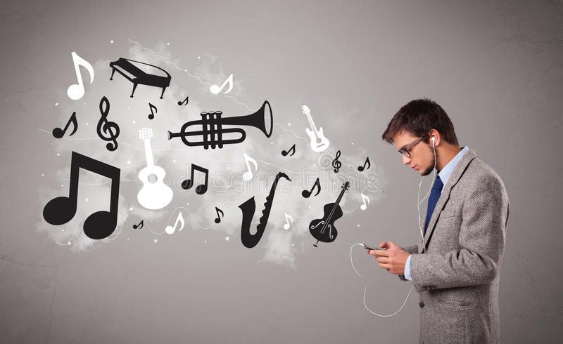 Download Young Man Singing And Listening To Music Stock Photo - Image: 28063118