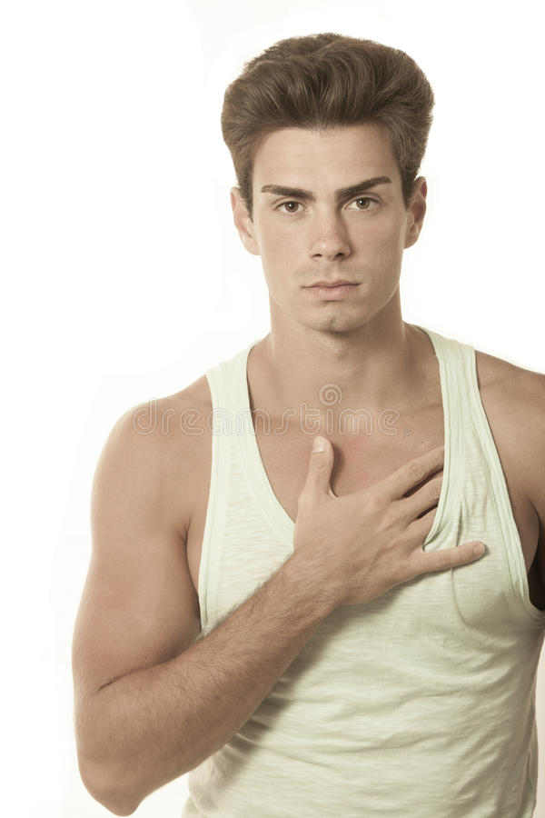 Free Young Man Singlet Top With Touching Chest. Hairstyle Fashionable Stock Photography - 51357262