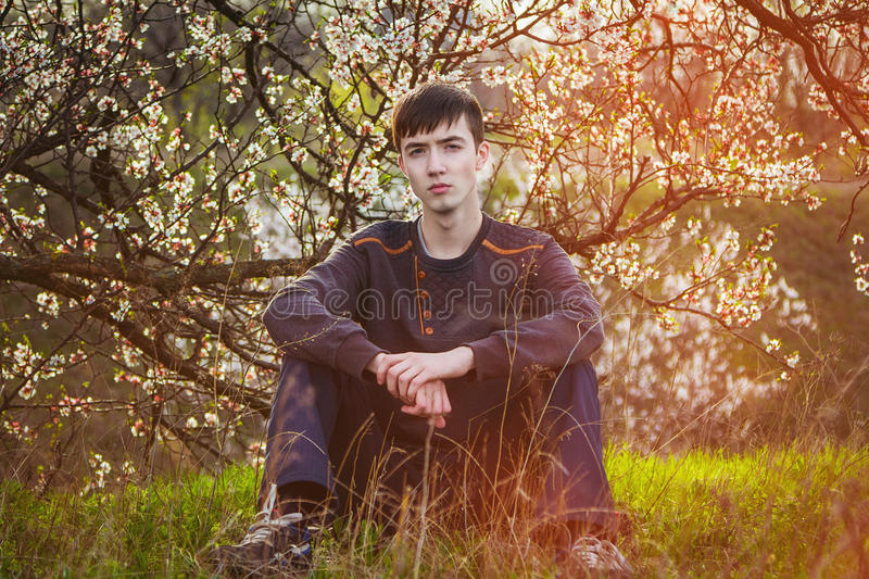 Young man sitting by blooming tree stock photos