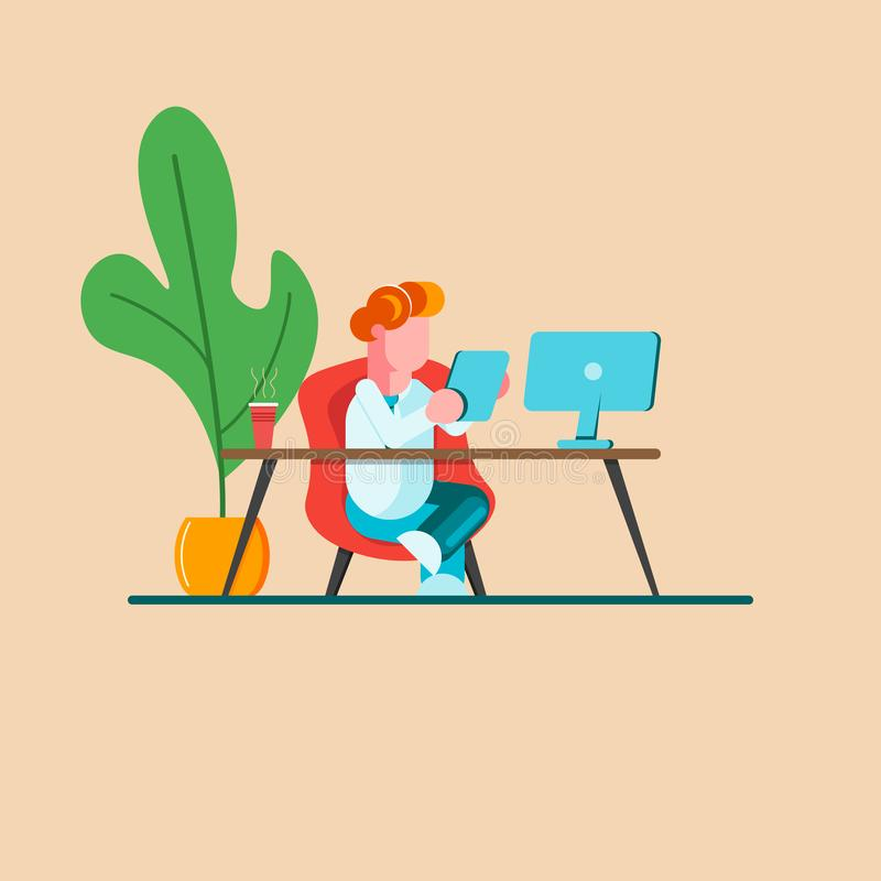 Young man is sitting at a desk with computer and with a phone. Office business concept. Modern vector illustration. - Vector stock illustration