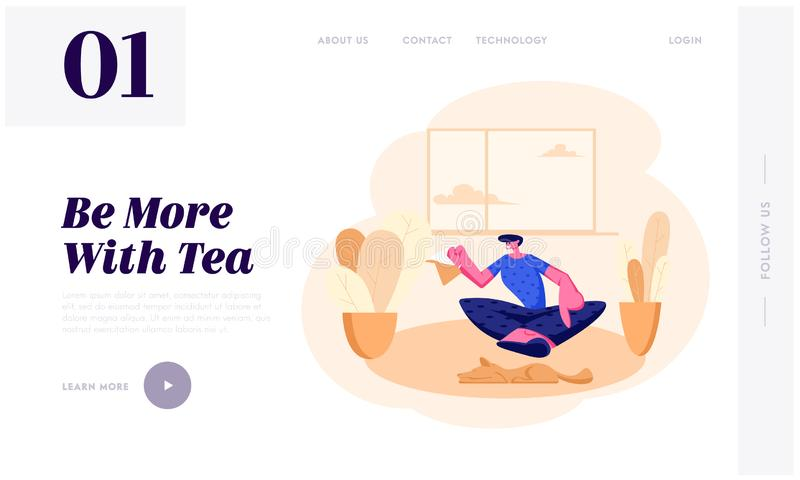 Young Man Sitting on Floor with Tea Pot in Hands at Home Interior Having Leisure, Sparetime, Relaxing or Chatting with Friend. Website Landing Page, Web Page stock illustration