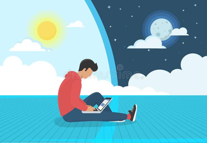 Young man sitting on the floor working with laptop day and night stock illustration