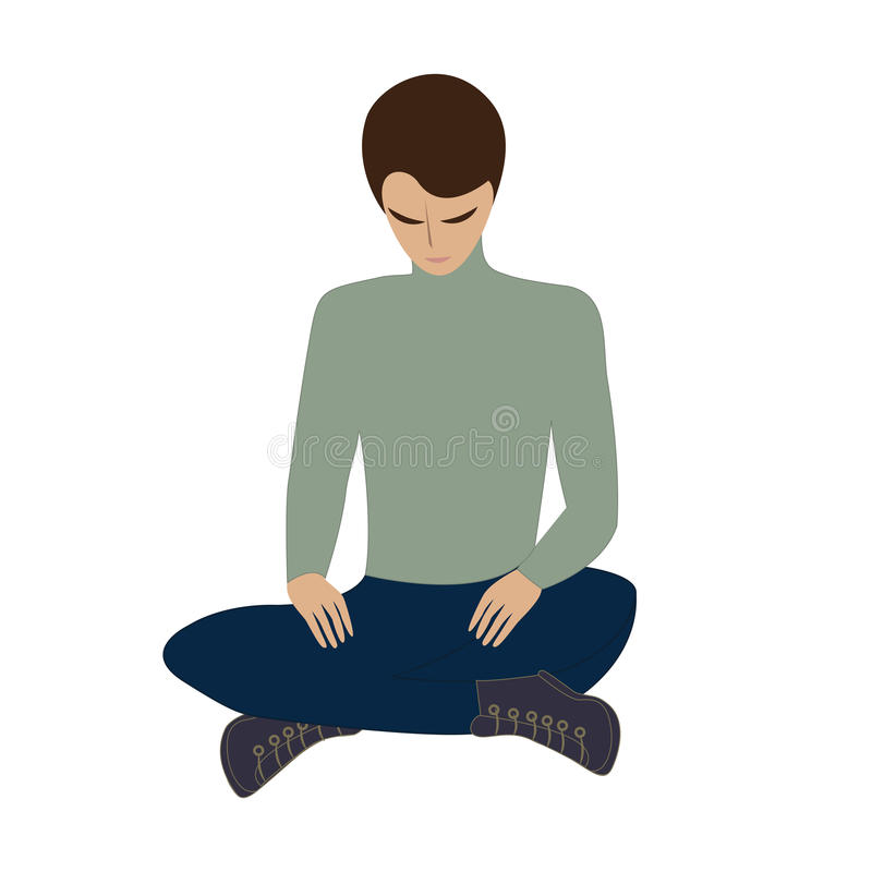 Young man sitting head bowed yoga relaxation meditation isolated on white background art creative vector illustration royalty free illustration