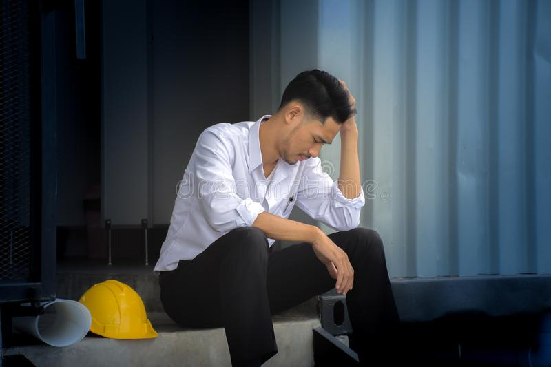 Young engineers fail to make mistakes in their work and business. stock photography