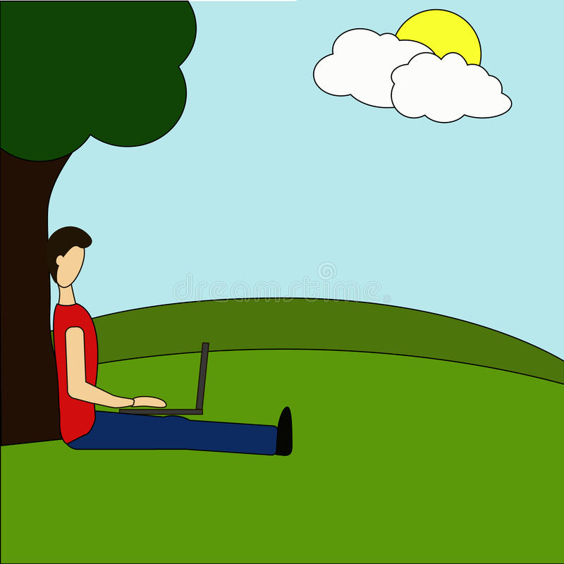 Young man sitting in the park under a tree and working with laptop. Flat modern illustration of social networking, searching and s. Ending email vector illustration