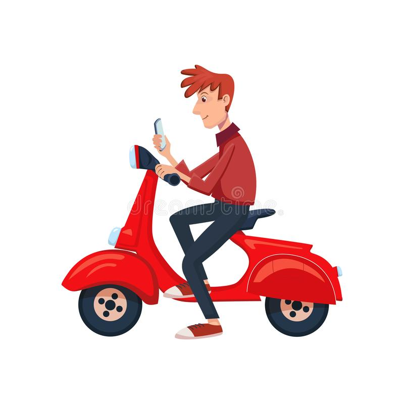 Young man sitting on a scooter and see the phone. Isolated cartoon vector illustration vector illustration